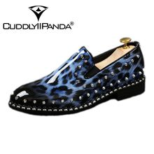 CUDDLYIIPANDA Men Fashion Sneakers New Arrival Men Smoking Slippers Rivets Bling Men Laofers Men Party and Prom Shoes(China)
