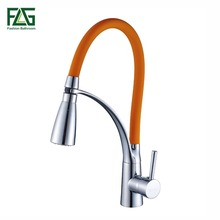 FLG Kitchen Faucet Pull Out Chrome Cast Orange Color 360 Degree Rotating Cold And Hot LED Kitchen Taps Griferia Cocina 100306PB(China)