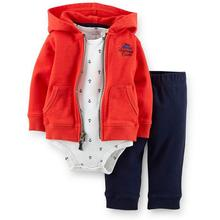 Summer Spring  Baby Boy Clothes Coat+bodysuit+pant 3 Pcs Infant Boy Clothing Set Kids Clothes Baby Rompers Baby Girl Clothes