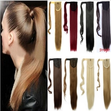 "Synthetic Ponytail Natural Hair Extension 24"" 60cm 100g Fashion Long Straight Clip in Pony Tail Hairpieces Heat Resistant 100pcs"