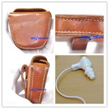 Outdoor Leather Carrying Case Bag  For Monster DNA , iSport In Ear Headphone EarBud Natural Genuine Leather by Handmade