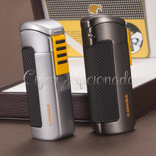 COHIBA Gadgets Pocket Fashion Qualtiy Metal Refillable Windproof 3 Torch Jet Flame Gas Cigarette Cigar Lighter W/ Cigar Punch