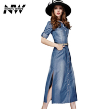 Nordic Winds Denim Jean Dress Women Fit And Flare Autumn Fall Cowboy Dress Girl Midi Denim Casual Dresses Brand Name Clothing