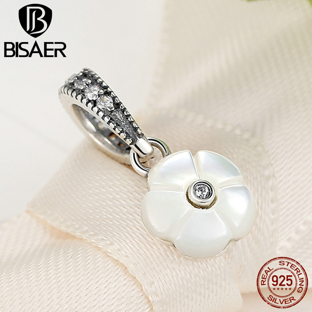 High Quality 925 Sterling Silver White Flower Pendants Charms Fit Pandora Bracelets for Women Fashion Jewelry WEUS334(China (Mainland))