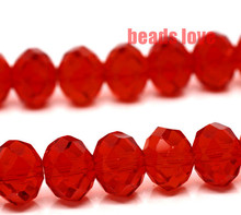 Wholesale Faceted Red Glass Crystal Rondelle Spacer Beads 4 6 8 10 12 14mm Pick Siz Free Shipping(F00178)