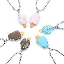 New 2pcs Multicolor Two Different Popsicle Pendant Necklace Best Friends BFF Bead Chain Necklace  jewelry lead nickel free
