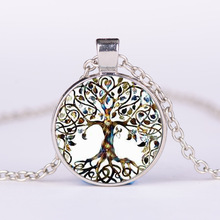 YimYik Glass Picture Pendant Tree Of Life Necklace Glass Pendant For Women jewelry gifts