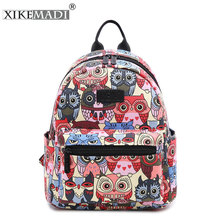 Cute Owl Animal Pattern Canvas Women Backpack Small Japanese School Backpacks For Teenage Girl Sac A Dos Popular Brands Backpack(China)
