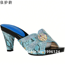 New Design African Slippers Summer High Heels High Quality African Sandals Heels Pumps Blue Color Fashion African Wedding Shoes