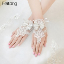 Feitong Rhinestone Lace Gloves Women Brides Bowknot Floral Fingerless Short Gloves Lady Party Dresses Glove Mitts Mittens #JOYL