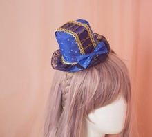 Lolita Girls Sweet Starry Stars Bow Lace Mini Top Hat Hair Clip Headwear