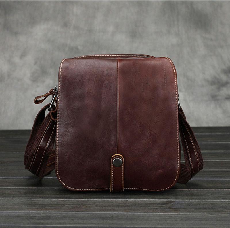 New Men Vintage Genuine leather First layer Cowhide Cross Body Shoulder Messenger Business Bag<br>