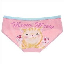 Underwear Women Cotton  Little Kitty Printing Meow Cat  Low WaistPanty Ladies Pink Panties Girls Breathable Pussy Briefs M,L