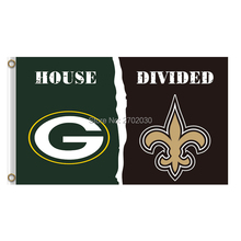 Green Bay Packers Flag Vs New Orleans Saints Banners Sport Football Team Flags 3x5 Ft Super Bowl Champions Banner(China)