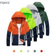 FGKKS Men Jacket Windbreaker 2018 Spring Men's Fashion Jacket Hooded Casual Jackets Male Coat Thin Men's Couple Coat(China)