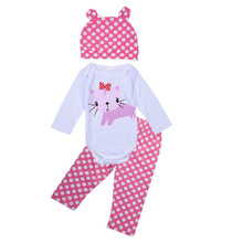 Newborn Baby Girls Long Sleeve Infant Cartoon Rompers+Striped Pants+Caps 3-piece Clothing Set  Kids Clothes 0-18M Hot Sale