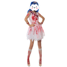 2016 Halloween Purim Scary White Blood Zombie Corpse Bride Costume Gothic Adult Fantasia Costumes Cosplay Dress  for Women
