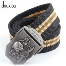 Unisex Skull Double Knife Canvas Tactical Belt High Quality Military Belts For Mens & Women Luxury Patriot Jeans Belt