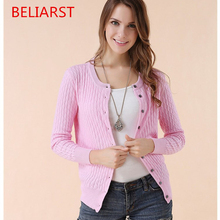 BELIARST Women New Autumn And Winter Female Pure Cashmere Sweater Knitted Cardigan Jacket Retro Twisted Flower Long Sleeve(China)