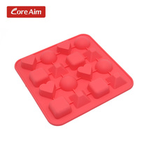 17.8*1.7cm 3D DIY Red Color Chocolate Mold Block And Heart Shaped Multi-Shape Silicone Candy Soap Mold Baking Pan Sugar Mould(China)