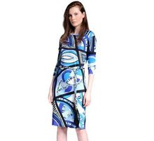 New 2016 Italian Luxury Brands Women's Blue Geometry Print Long Sleeves With Sashes Plus Size XXL Stretch Jersey Silk Dress