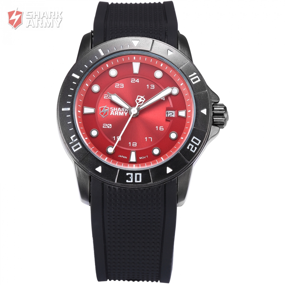 New Shark Army Date Display Black Silicone Band Calendar Outdoor Full Steel Case Red Men Quartz Sports Military Watch/SAW096<br>