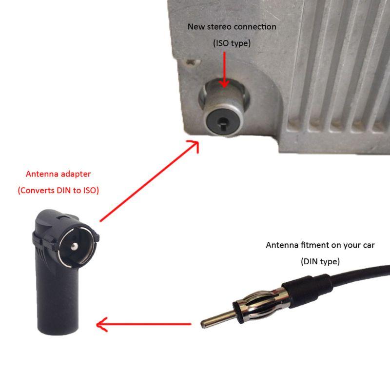 KFZ autoradio antena-adaptador ISO embrague conector DIN conector enchufe antenas