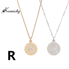 Keamsty Hot Design Stainless Steel Gold and Silver Initial Necklace Disc Charms Letter R Jewelry Gifts with Crystal 2pcs/lot