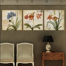 3 Panel Hot Sell Modern Wall Painting Home Decorative Art Picture Paint on Canvas Prints Old style hyacinth, lily and daffodils(China)