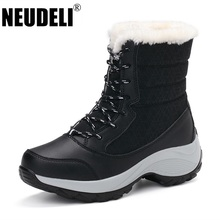 NEUDELI Hot sale !!! Women winter boots Plus Thick fur warm snow boots High Quality lace-up ankle boots female winter shoes