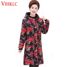 Plus Size Cotton-Padded Jacket Hooded Winter Middle Age Mother 9 Colour Women Velvet Thick Warm Loose Floral Coat XL-6XL H529(China)