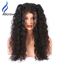 Alicrown 4*4 Silk Base Full Lace Wig With Baby Hair Pre-Plucked Brazilian Remy Full Lace Human Hair Wigs With Baby Hair(China)
