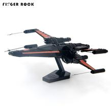 Finger Rock 3D Metal Puzzle POE DAMERON Xwing Fighter Stainless Steel Model Kid DIY Assembly Jigsaw Toy Christmas Gift