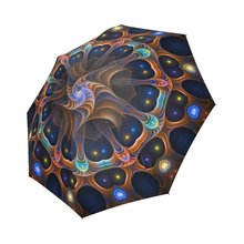 Cool Indian Mandala Compact Umbrella Folding Travel Rain/Sun Umbrella Anti-uv, Windproof Rainproof Umbrella(China)