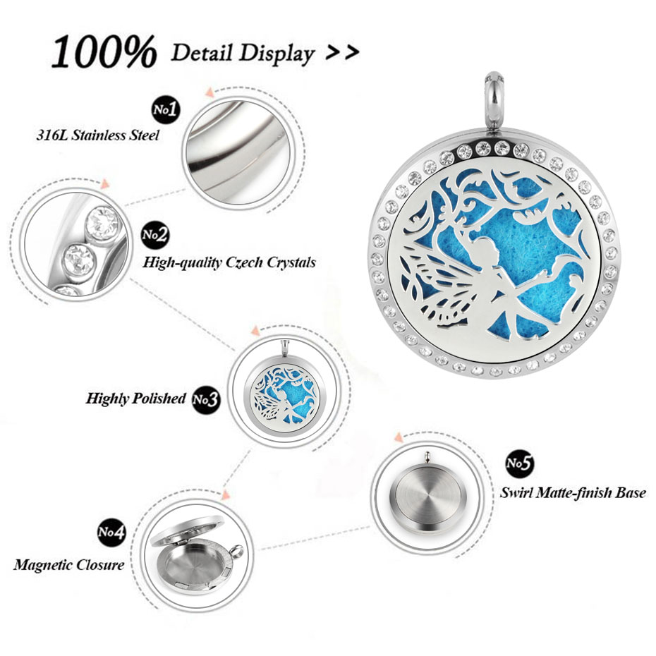 fair diffuser necklaces silver gold rose gold 20mm 25mm 30mm locket jewelry -219 (2)