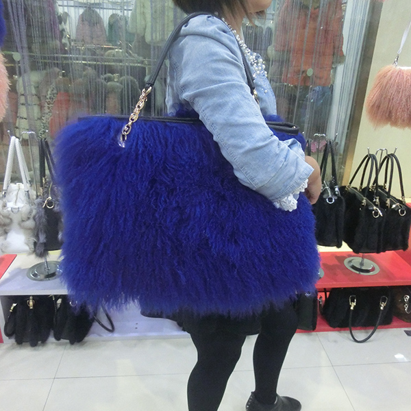 Lady/'s Real Long Lamb Fur//Mongolian Fur Large Shoulder Bag Women/'s Handbag Purse