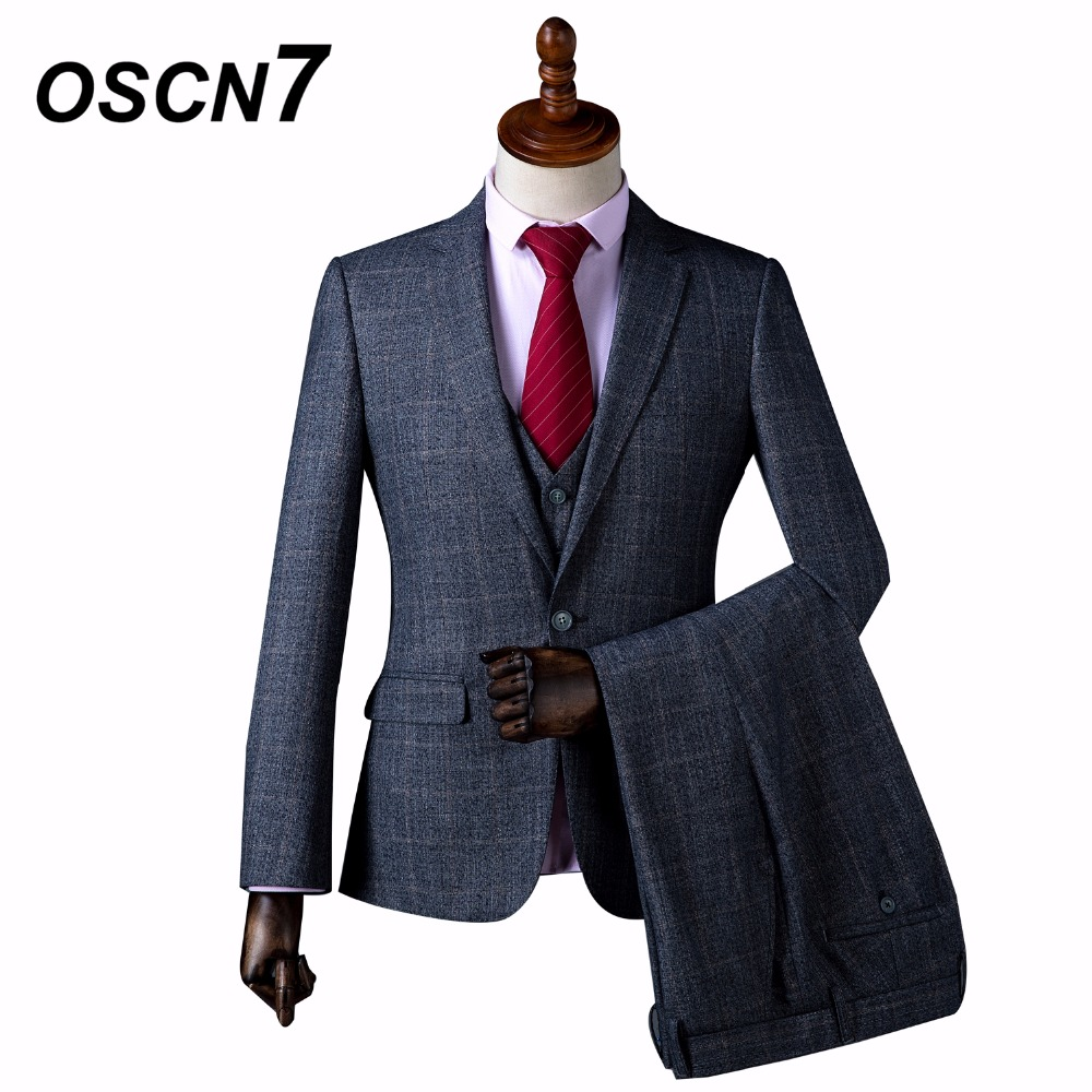 OSCN7 Gray Check Wool Classic Custom Made Men Suit Blazers Retro Tailor Made Slim Fit Wedding Suits for Men 3 Piece HJ-048