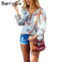 BerryGo Sexy v neck floral print blouse women Loose lace up tie up chiffon blouse Summer tops beach party white blusas