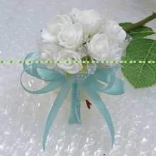 8pcs Handmade PU Prom Boutonniere Groom Wedding Decor Suit Artificial Rose Wrist Corsage Brooch Flower White Blue Pin FL1570
