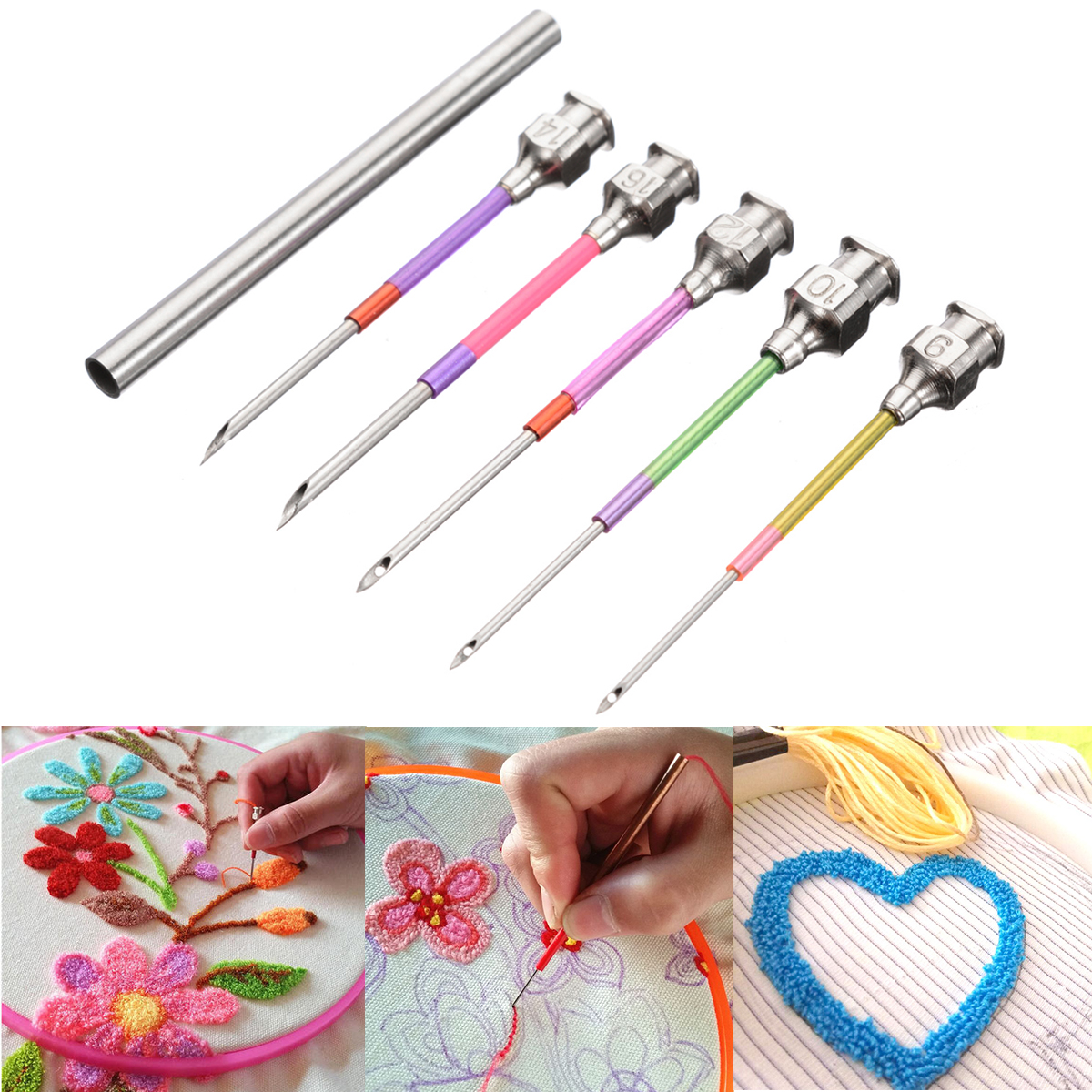 5pcs Embroidery Punch Needle Handmade Needlepoint Kit Diy Sewing Tools Sewing