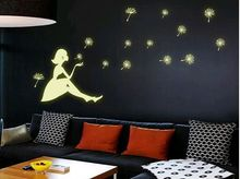 Fluorescent stickers glow in dark wall stickers decoration home decal decor girl dandelions lovely light fashion cute Y0031