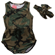 2 pcs new hot fashion bulk pullover sleeveless o-neck Adorable Infant Baby Girls Camo Romper Jumpsuit + Headband Clothes 0-24M
