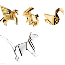1Pc Geometry Metal Cat Rabbit Horse Bird Brooch Pins Badge Corsage Jewellery #88327(China)