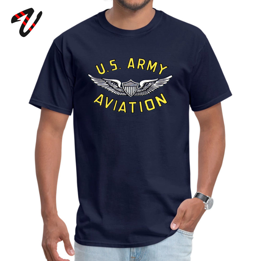 Normal Short Sleeve Tees Summer Autumn Round Neck 100% Cotton Fabric Mens T Shirt Army Aviation (tshirt) Normal Tees 2018 Newest Army Aviation (t-shirt) -10309 navy