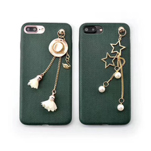 Fashion Green Jewelry Stars Tassel Back Cover For iPhone 6 6plus 7 7plus Girls Luxury Case