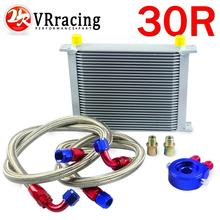VR RACING - AN10 OIL COOLER KIT 30ROWS TRANSMISSION OIL COOLER SILVER+OIL FILTER  ADAPTER BLUE + STAINLESS STEEL BRAIDED HOSE