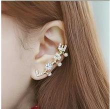 ed 055 1 piece high quality dance wearing crystal letter earrings 2017 fashion ladies temperament geometric element earrings fac(China)
