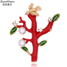 Lucky Red Enamel Leaves Tree Brooch Pin Metal Bird Crystal Rhinestone Women Garment Accessory Pearls Fashion Vintage Jewelry
