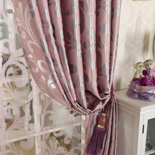 European Double jacquard curtain for living room thickening blackout curtains Embossed pattern tulle curtains for bedroom window(China)