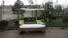Outdoor Swimming Pool Wicker Daybed With Long Pillow sun lounger transport by sea